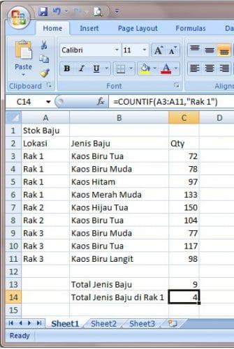 Kumpulan Rumus Excel Lengkap Dan Fungsinya COUNTIF